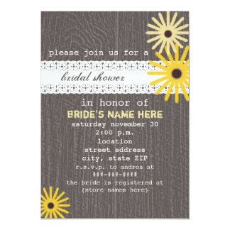 Barnwood & Lace Inspired Wildflowers Bridal Shower Card
