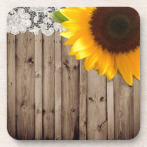 barnwood lace rustic western country sunflower drink coaster