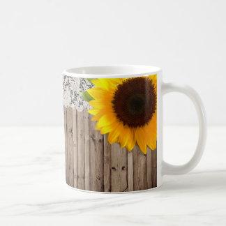 Barnwood lace sunflower country fashion coffee mug