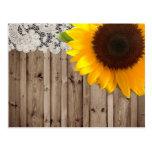 Barnwood lace sunflower country fashion postcard