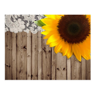 Barnwood lace sunflower country fashion postcard