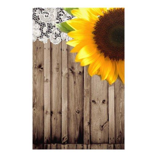 Barnwood lace sunflower country fashion custom stationery