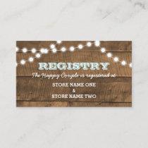 Barnwood Lights Aqua Bridal Wedding Registry Enclosure Card