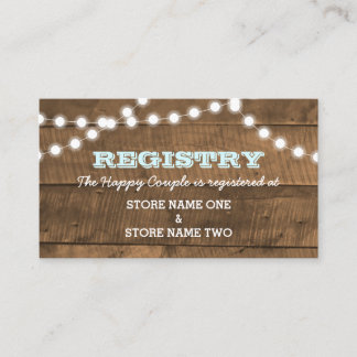 Barnwood Lights Aqua Bridal Wedding Registry Enclosure Card