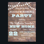 "Barnwood Lights Aqua Housewarming Invitations<br><div class=""desc"">This Rustic Chic invitation is perfect for any housewarming party. Each item is fully customizable to say just what you want.</div>"