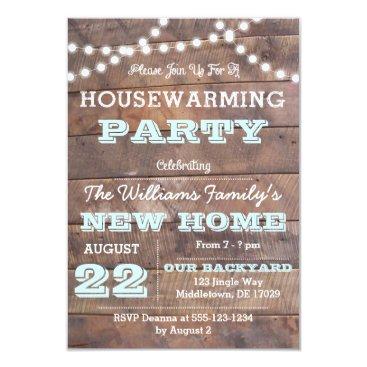 VisionsandVerses Barnwood Lights Aqua Housewarming Invitations
