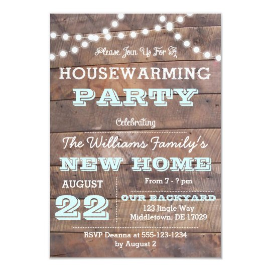 barnwood lights aqua housewarming invitations. Black Bedroom Furniture Sets. Home Design Ideas