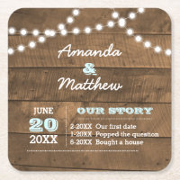 Barnwood Lights Aqua Personalized Wedding Square Paper Coaster