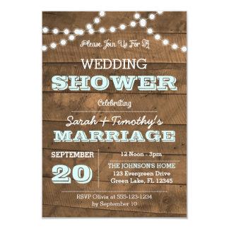 Barnwood Lights Aqua Wedding Party Sm Invitation