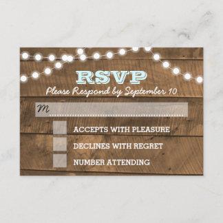 Barnwood Lights Aqua Wedding RSVP Card