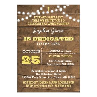Barnwood Lights Gold Dedication Invitation