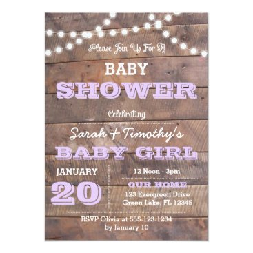 Toddler & Baby themed Barnwood Lights Lavender All Occasion Invitation