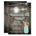 Barnwood Lights Mint Mason Jar Rustic Housewarming Invitation