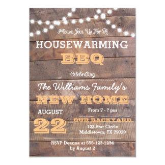 Barnwood Lights Peach Housewarming Invitation