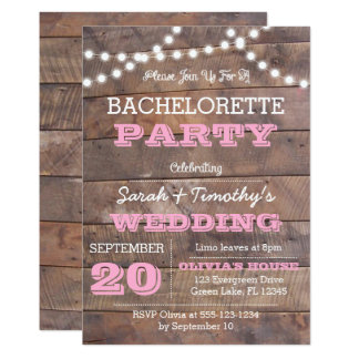 Barnwood Lights Pink All Occasion Invitation
