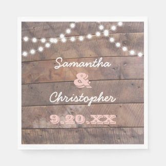 Barnwood Lights Pink Personalized Paper Napkin