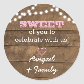 Barnwood Lights Pink Sweet Treat Bag Sticker