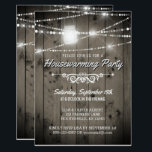 "Barnwood Lights Rustic Housewarming Party Invitation<br><div class=""desc"">Rustic country, barn wood and string lights housewarming invitations- Weathered, distressed old barn wood planks background with darkened edges. Sparkling, string lights and a country mason jar lantern adorn the top. Reads &#39;Please Join Us for a Housewarming Party&#39; in pale gray with shadow look. An elegant scroll border separates the...</div>"