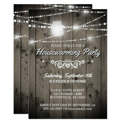 Barnwood Lights Rustic Housewarming Party Invitation