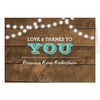 Barnwood Lights Teal Confirmation Thank You Note