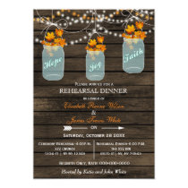Barnwood,mason jar Fall rehearsal dinner invites