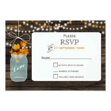 Barnwood mason jar fall wedding RSVP 3.5 x 5 Card