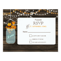Barnwood mason jar fall wedding RSVP Card