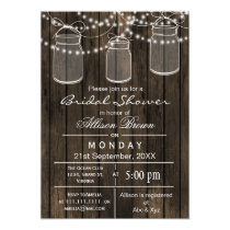 Barnwood mason jar rustic bridal shower card