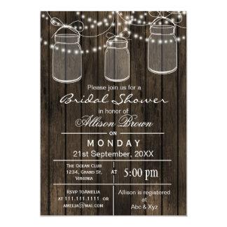 Barnwood mason jar rustic bridal shower 5x7 paper invitation card