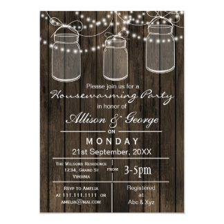 Barnwood mason jar rustic housewarming invites