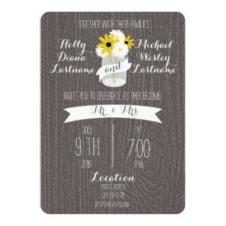 Barnwood +  Mason Jar Wildflowers Wedding Card