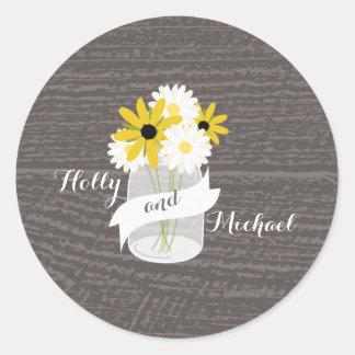 Barnwood + Mason Jar Wildflowers Wedding Sticker