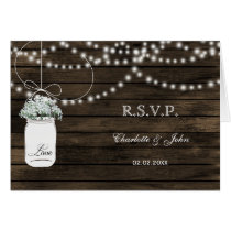Barnwood mason jars baby's breath wedding RSVP Card