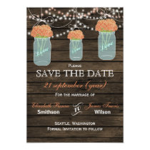 Barnwood mason jars coral flowers save the date card
