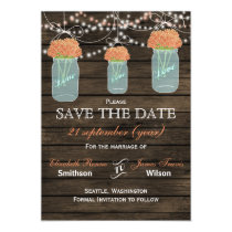 Barnwood mason jars coral flowers save the date magnetic card