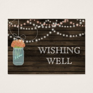 Barnwood mason jars,coral flowers wishing well business card