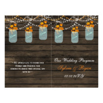 Barnwood mason jars, fall leaves programs folded flyer