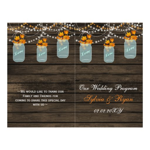 Barnwood mason jars, fall leaves programs folded flyers
