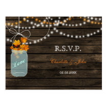 Barnwood mason jars fall wedding RSVP Postcard