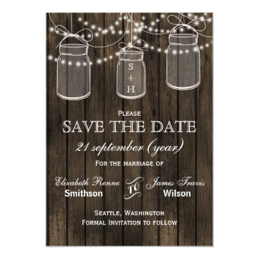 Barnwood mason jars flowers save the date magnetic card