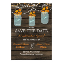 Barnwood mason jars maple fall save the date card