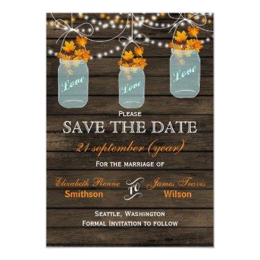 Barnwood mason jars maple fall save the date card