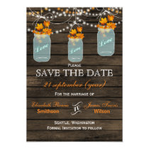 Barnwood mason jars maple fall save the date magnetic card