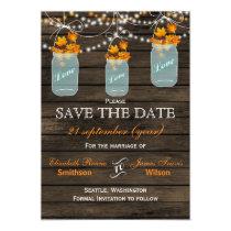 Barnwood mason jars maple fall save the date magnetic card