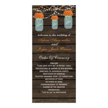 Barnwood mason jars,orange flowers programs
