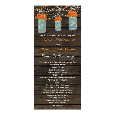 Barnwood mason jars,orange flowers programs