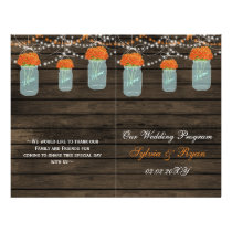 Barnwood mason jars,orange flowers programs folded flyer