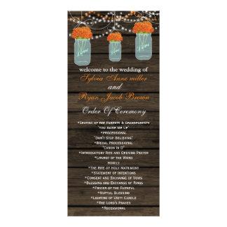 Barnwood mason jars,orange flowers programs rack card template