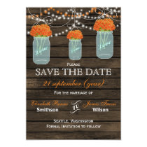 Barnwood mason jars orange flowers save the date card