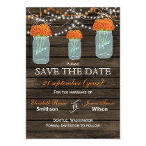 Barnwood mason jars orange flowers save the date magnetic card
